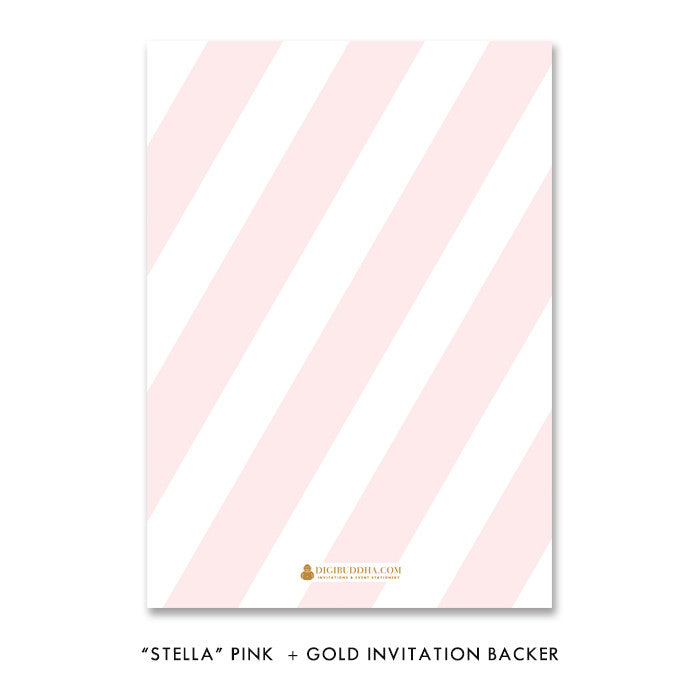 "Blush pink stripe & gold glitter ""Stella"" bridal shower invitation back side 