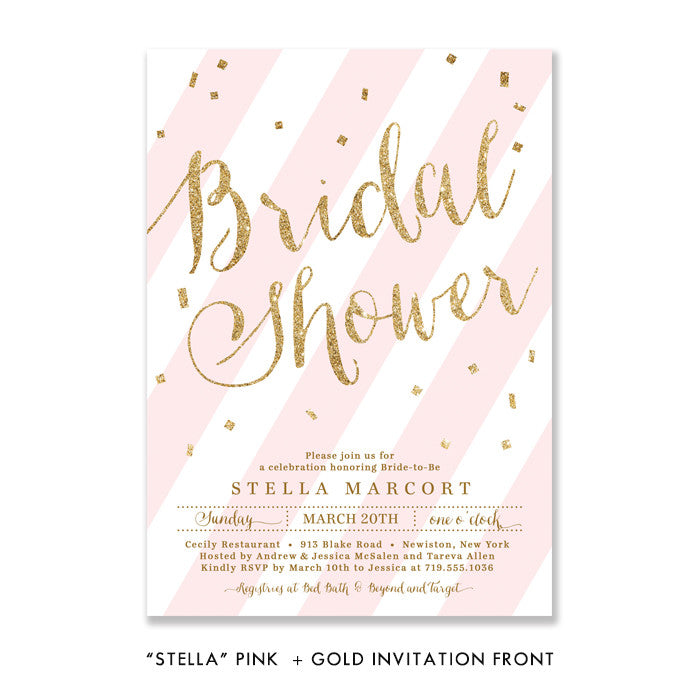 "Blush pink stripes & gold glitter confetti ""Stella"" Bridal Shower Invitation 