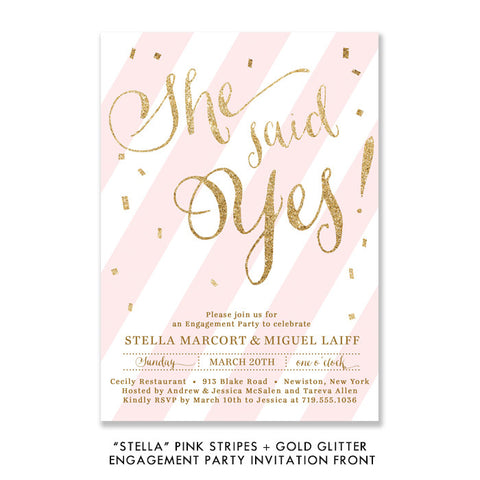 "Pink stripe + gold glitter confetti ""Stella"" She said yes engagement party invitation 