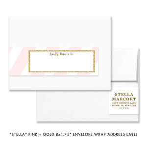 "Blush pink & gold glitter ""Stella"" envelope wrap address labels 