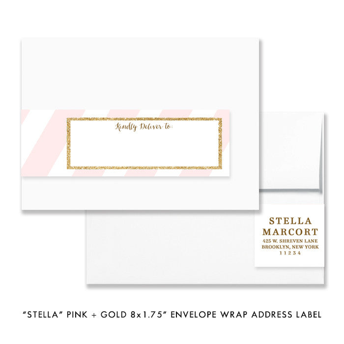 "Pink + Gold Glitter ""Stella"" striped envelope wrap address label 