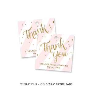 "blush pink stripe + gold glitter confetti ""Stella"" bridal shower favor tags 