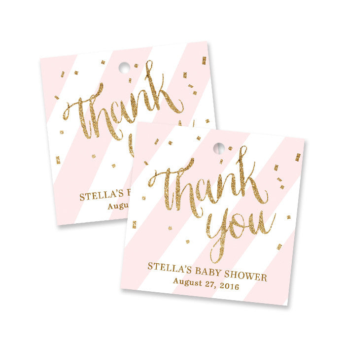 """Stella"" Blush + Gold Glitter Baby Shower Favor Tags"