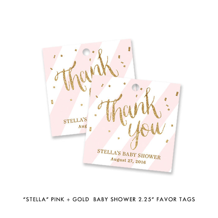 "Pink + Gold Glitter ""Stella"" striped baby shower favor tags 