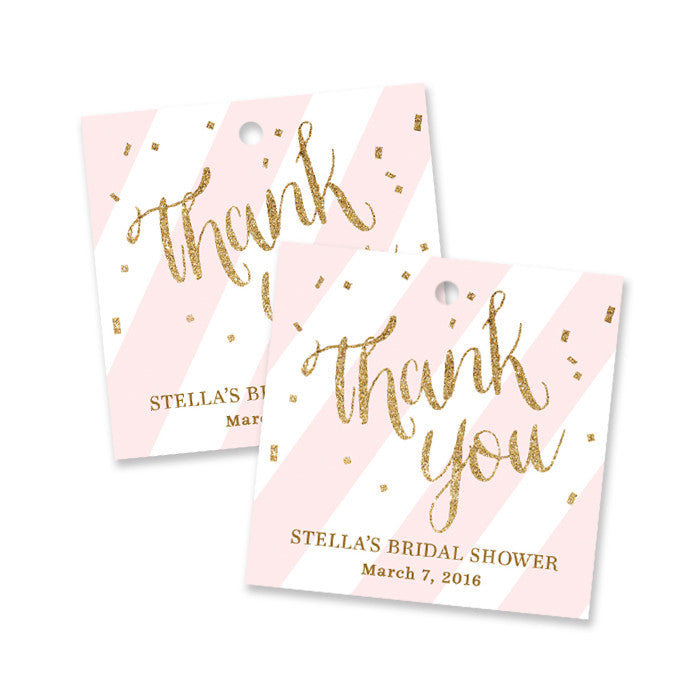 "Blush pink + gold glitter ""Stella"" bridal shower favor tags 