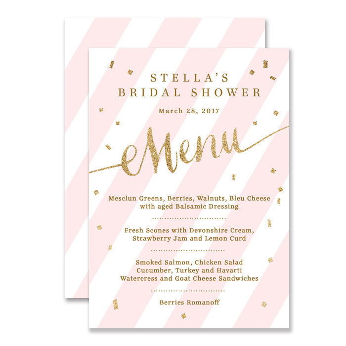 "Blush pink stripes + gold glitter confetti ""Stella"" Menu 