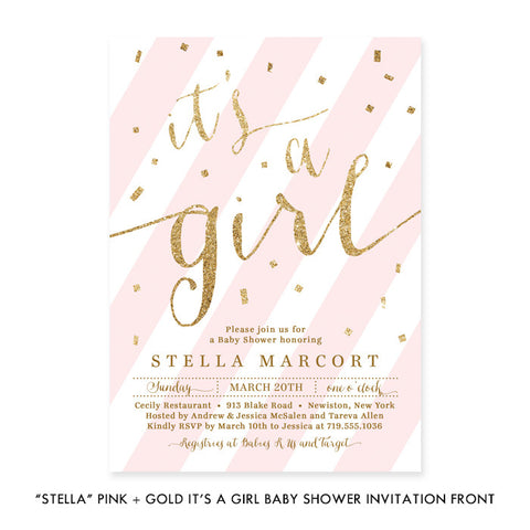 """Stella"" Pink + Gold Glitter It's A Girl Baby Shower Invitation"