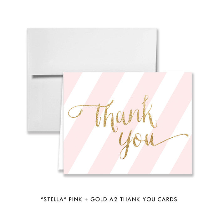 "Pink + Gold Glitter ""Stella"" striped folded A2 thank you cards 
