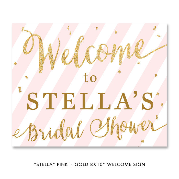 "Blush pink & gold glitter confetti ""Stella"" Bridal Shower Party sign 