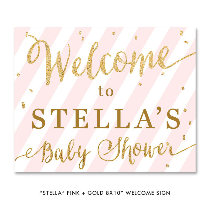 "Pink + Gold Glitter ""Stella"" striped baby shower welcome sign 