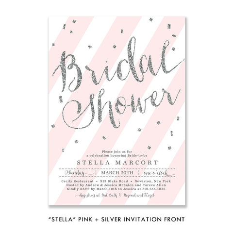 """Stella"" Blush + Silver Glitter Bridal Shower Invitation"