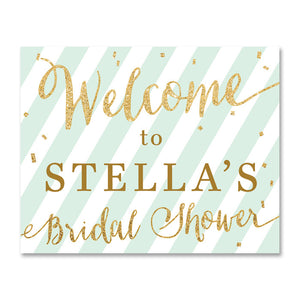 mint green and gold glitter bridal shower welcome sign by digibuddha.com