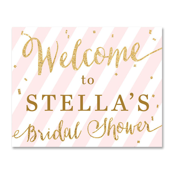"""Stella"" Pink + Gold Glitter Bridal Shower Welcome Sign"