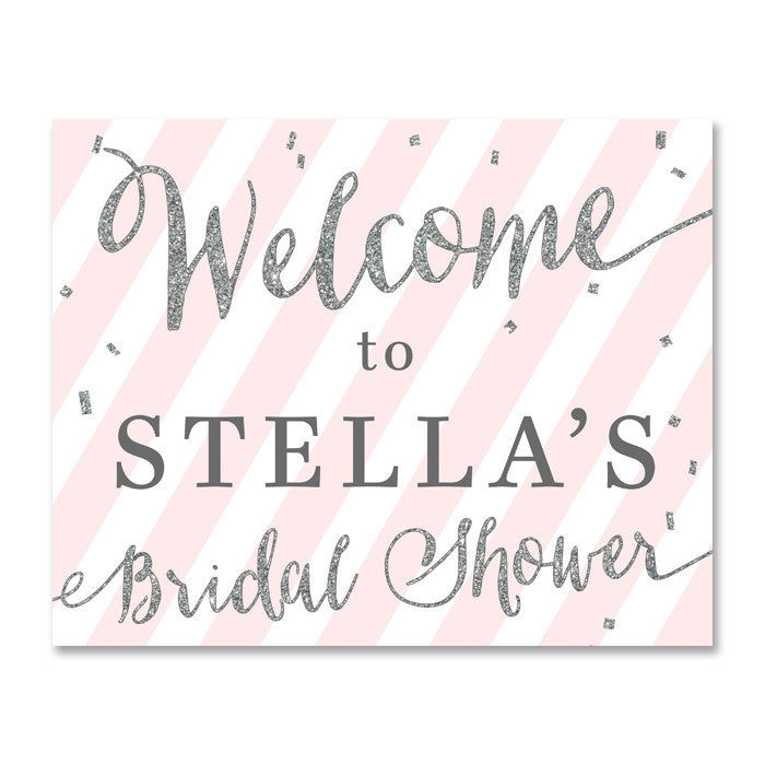 """Stella"" Pink + Silver Glitter Bridal Shower Welcome Sign"