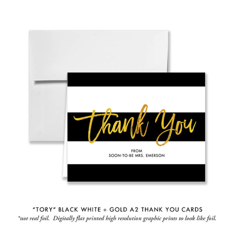 """Tory"" Gold Foil Bridal Shower Thank You Card"