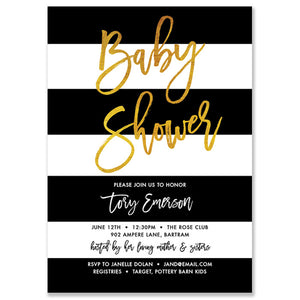 """Tory"" Black White & Gold Baby Shower Invitation"