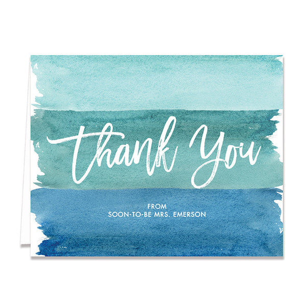 """Tory"" Turquoise Watercolor Bridal Thank You Card"