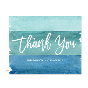 """Tory"" Turquoise Watercolor Graduation Thank You Card"