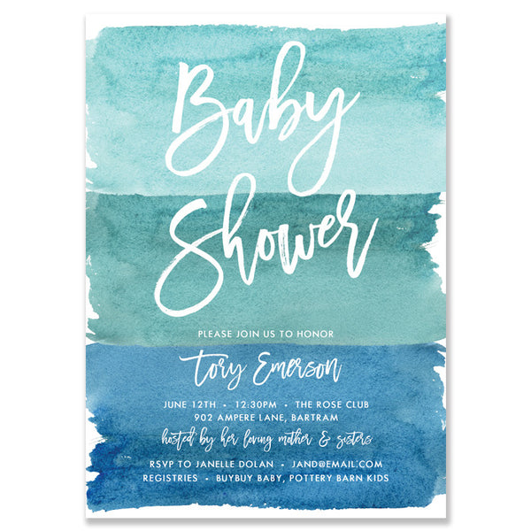 Baby shower invitations digibuddha tory turquoise watercolor baby shower invitation filmwisefo Image collections