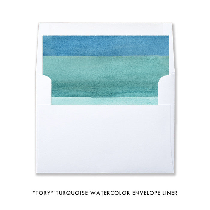 """Tory"" Turquoise Watercolor Bridal Shower Invitation"