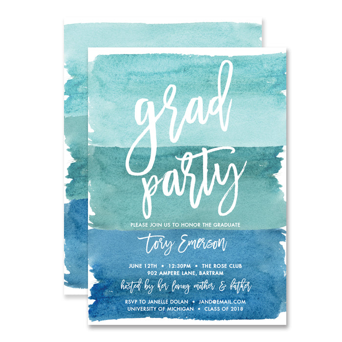 """Tory"" Turquoise Blue Watercolor Graduation Invitation"