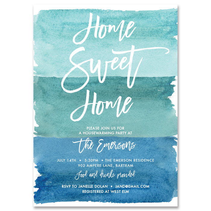 """Tory"" Blue Watercolor Housewarming Party Invitation"