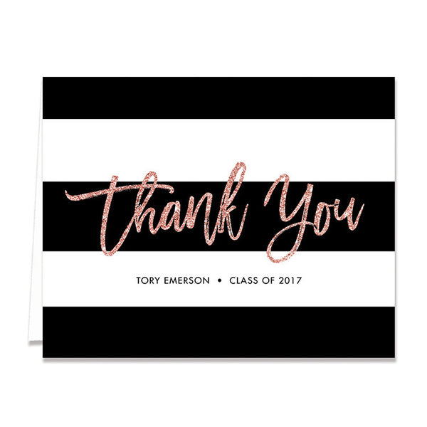 """Tory"" Blush Glitter Graduation Thank You Card"
