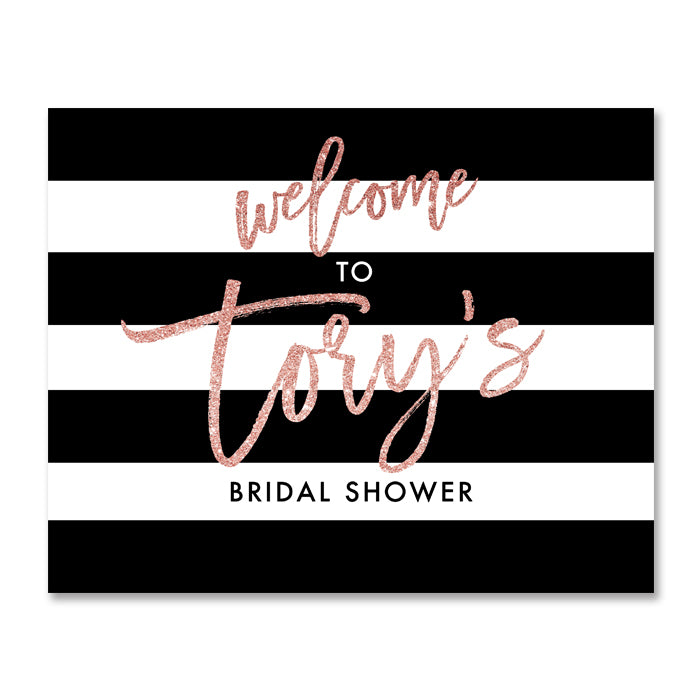 """Tory"" Blush Glitter Bridal Shower Welcome Sign"