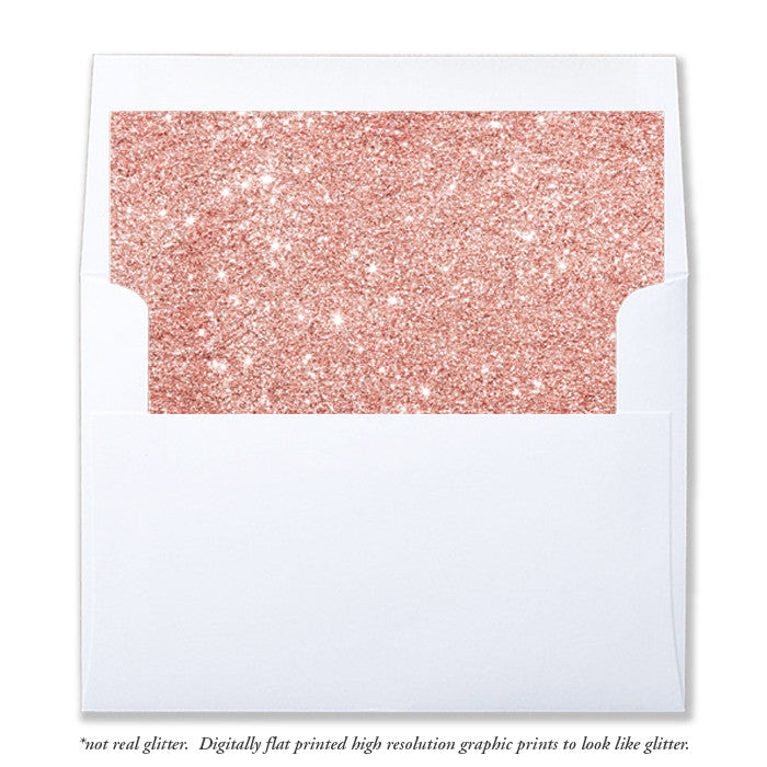 """Tory"" Rose Gold Blush Glitter Envelope Liners"