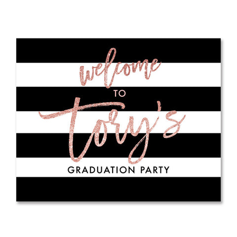 """Tory"" Blush Glitter Graduation Party Welcome Sign"