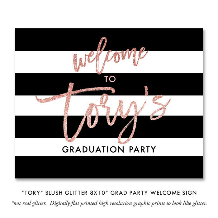 """Tory"" Blush Pink Glitter Graduation Party Invitation"
