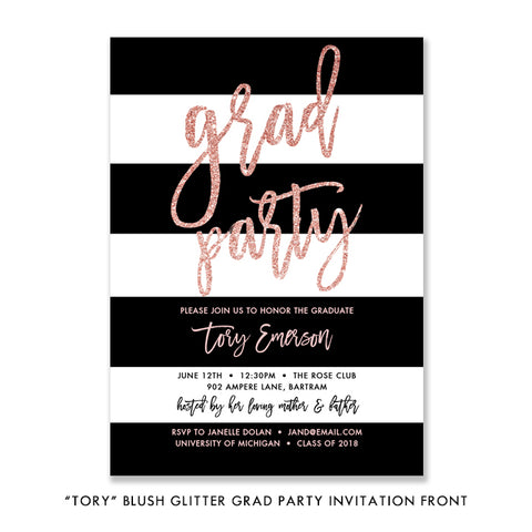 """Tory"" Blush Glitter Graduation Party Invitation"