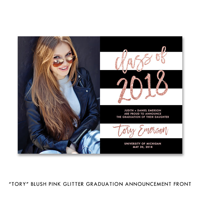 """Tory"" Blush Pink Glitter Graduation Announcement"