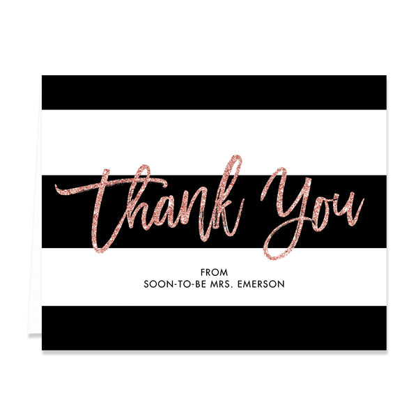 """Tory"" Blush Glitter Bridal Shower Thank You Card"