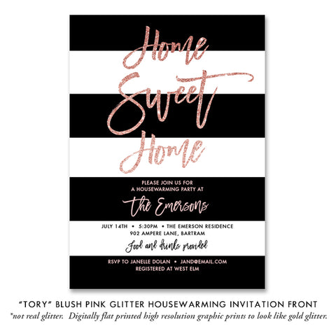 """Tory"" Blush Pink Glitter Housewarming Party Invitation"