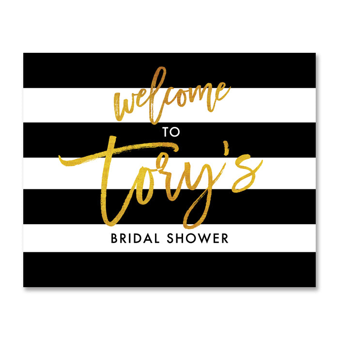"""Tory"" Black White + Gold Bridal Shower Welcome Sign"