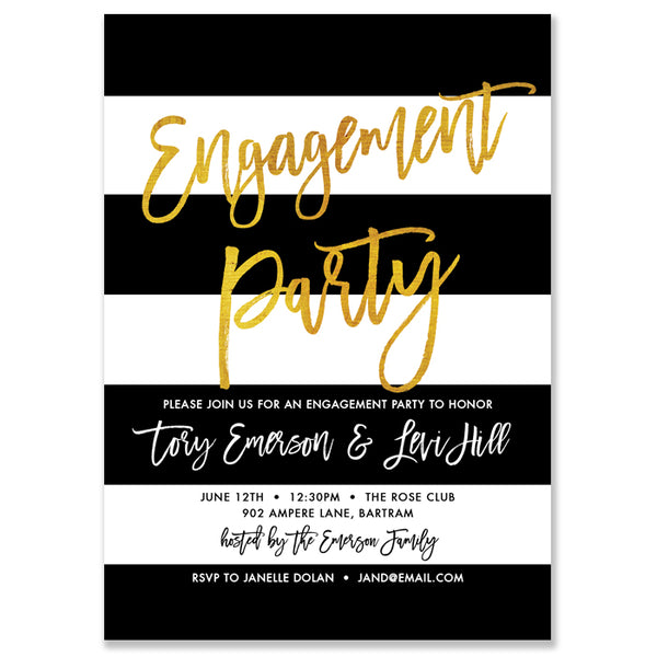 Black & Gold Engagement Party Invitation