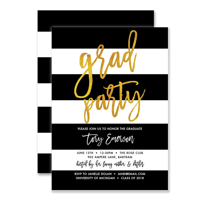 black white gold graduation party invitations digibuddha