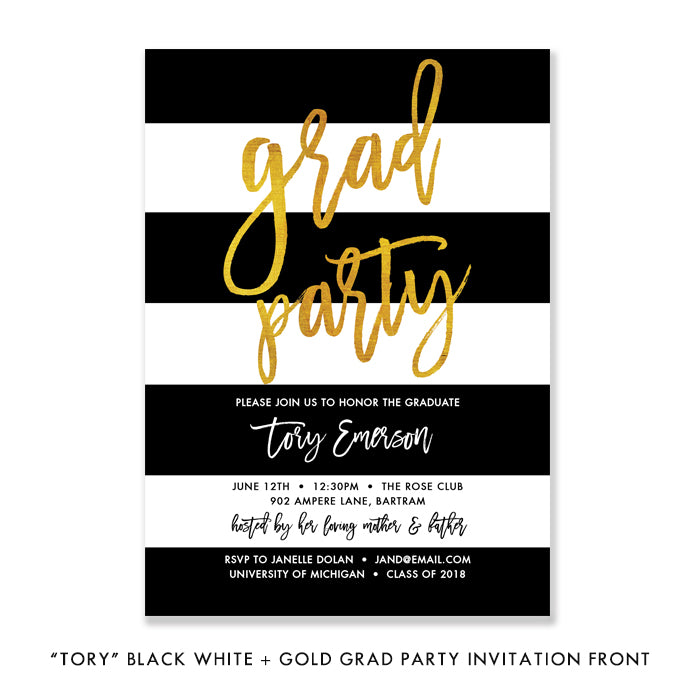 """Tory"" Black White Stripes Gold Foil Graduation Invitation"