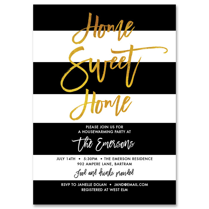 """Tory"" Black White & Gold Housewarming Party Invitation"