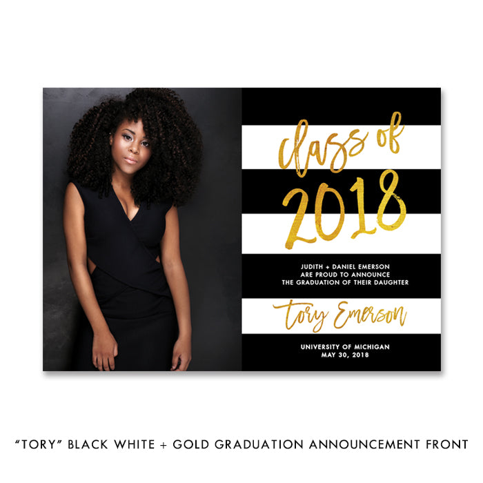 """Tory"" Black White + Gold Graduation Announcement"