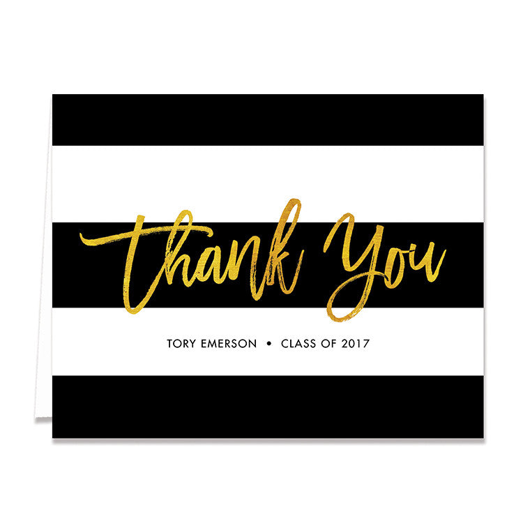 tory gold foil graduation thank you card - Graduation Thank You Cards