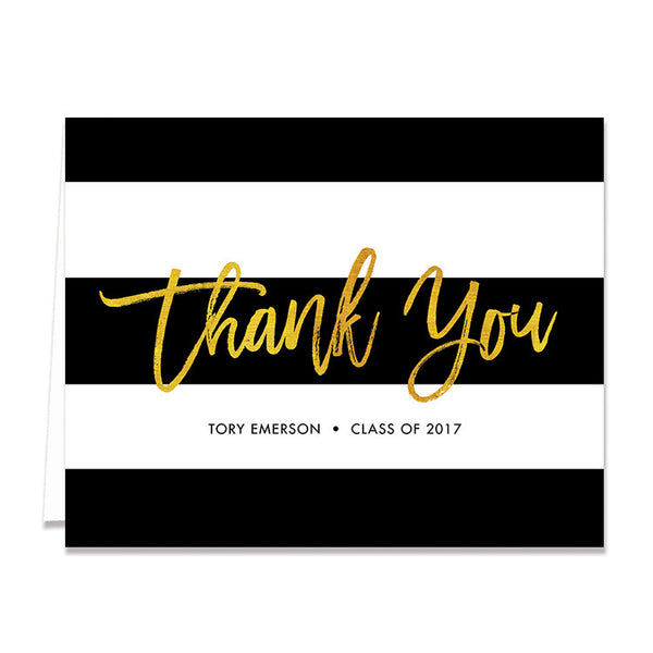 """Tory"" Gold Foil Graduation Thank You Card"