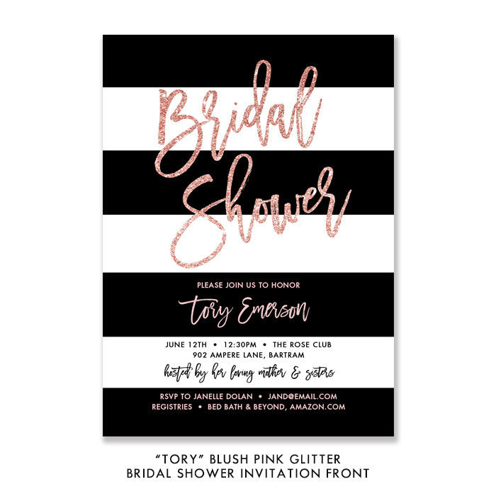 """Tory"" Blush Pink Glitter Bridal Shower Invitation"