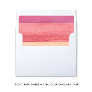 """Tory"" Pink Ombre Watercolor Graduation Party Invitation"
