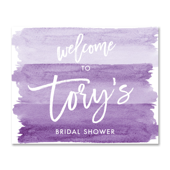 """Tory"" Purple Watercolor Bridal Shower Welcome Sign"