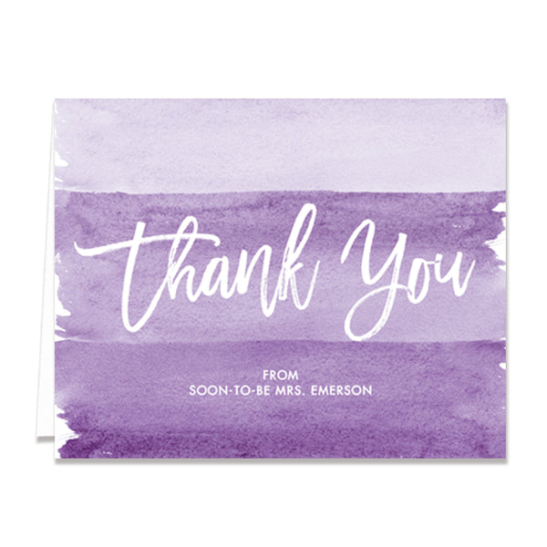 """Tory"" Purple Watercolor Bridal Thank You Card"