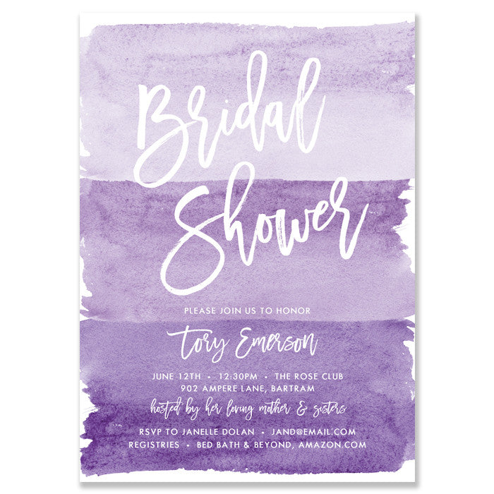"""Tory"" Purple Watercolor Bridal Shower Invitation"