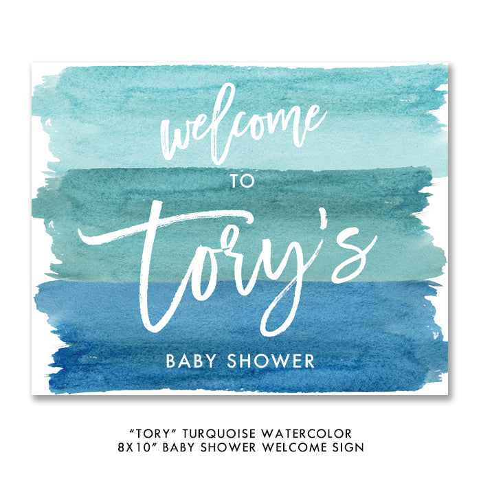 """Tory"" Turquoise Watercolor Baby Shower Invitation"