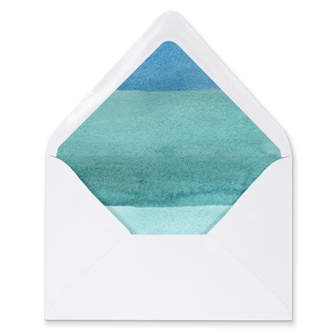 """Tory"" Turquoise Watercolor Envelope Liners"